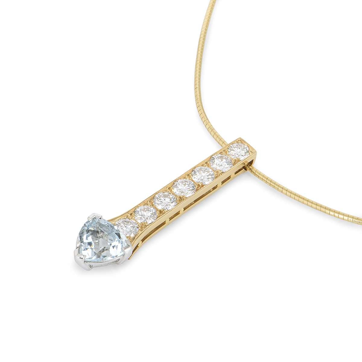 Yellow Gold Diamond & Aquamarine Drop Pendant